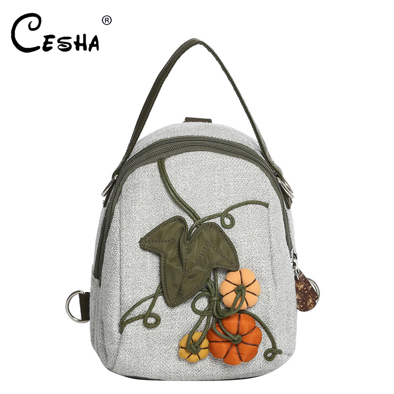 Fashion National Women Linen Small Backpack Female Embroidery Shoulder Bag Casual Cartoon Portable Knitting Girls Backpack SAC