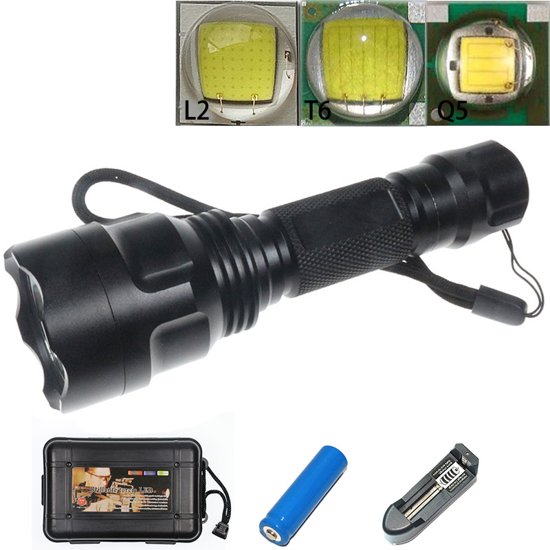Outdoor Tactical C8 Flashlight Q5/T6/L2 Quality Powerful Portable LED Torch Switch 5 Modes Military Camping Flash Lantern Light