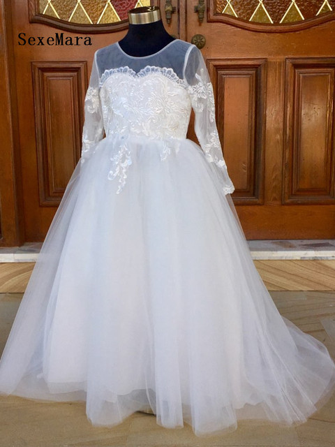 cb90f194 Vintage Flower Girl Dress For Wedding Custom Made Girls First Communion  Gowns With Full Sleeves Buttons Bow Sheer Neck Vestidos