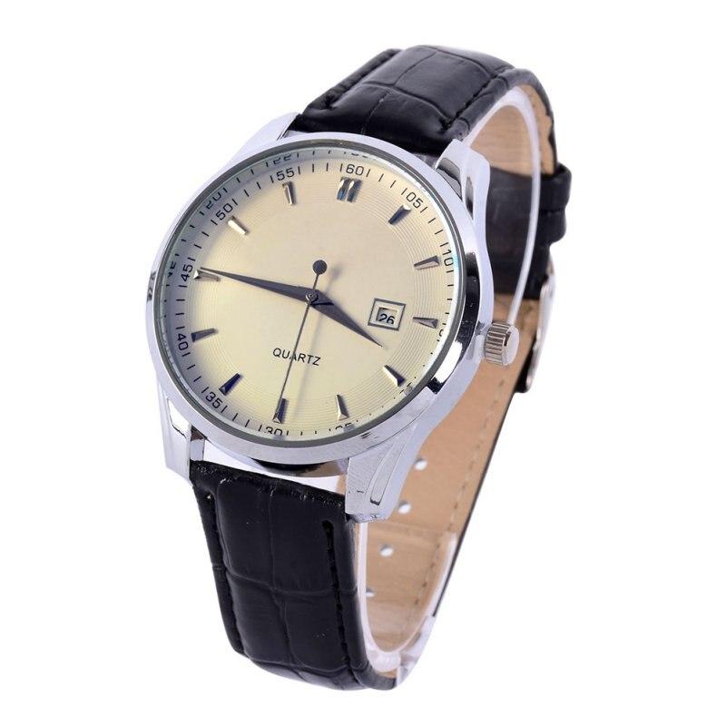 c10ef514162 Top marca de Relógio de Quartzo homens de Negócios Informais De Couro  Analog Watch dos homens Relogio presente