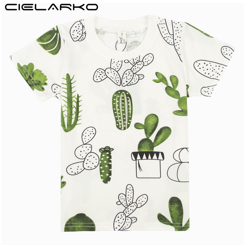 Cielarko Boys T-Shirt Kids Basic T Shirts Cartoon Cactus Top Tees Children Sport Clothing Baby Boy Design Shirts for 3-8 Years grid hollow design t shirts in army green