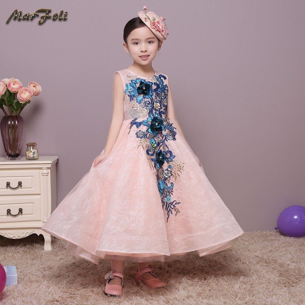 Marfoli Flower Girl Dress Pink Rose Wedding Pageant Kids Boutique 2017 Summer Princess Party Dresses Clothes ZT0035 marfoli girl princess dress birthday
