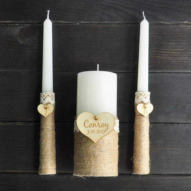 Rustic Unity Candle Set Ivory Personalized Wedding Candles Burlap Ceremony Custom