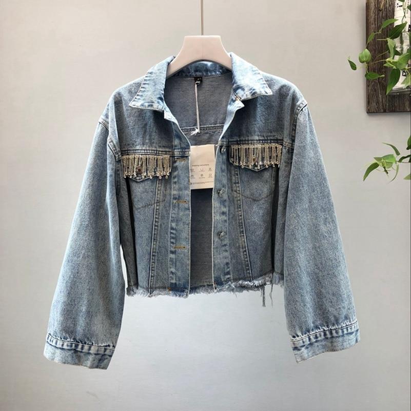 SexeMara fashion The New tassel Burr Rhinestone Short paragraph Washing water Denim jacket Free shipping