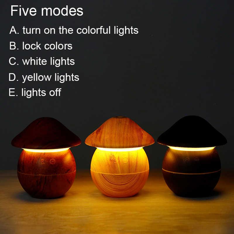3 trong 1 Máy Tạo Độ Ẩm Không Khí USB Hương Thơm Khuếch Tán Tinh Dầu Phun Sương Tạo Mini Vân gỗ Siêu Âm Humificador cho Văn Phòng Nhà với 7 màu sắc Đèn Fa