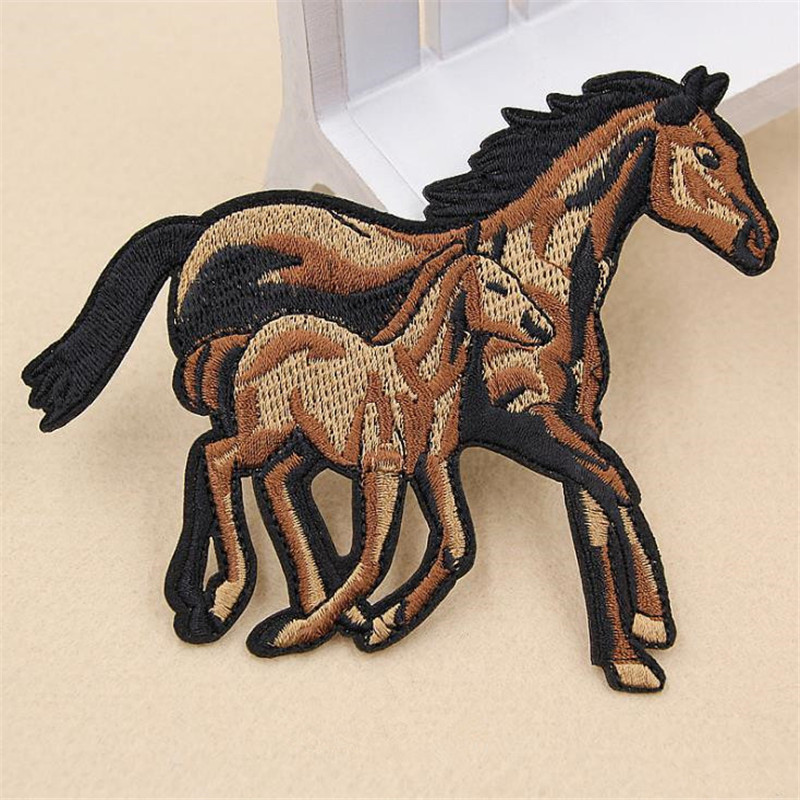 Street Fashion Icon 125mm horse iron on patches for clothing diy embroidery biker patch for clothes t shirt animal stickers