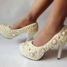 Новый стиль ручной работы из слоновой кости жемчуг стразы свадебные туфли хороший дизайн свадебный ботинки платья высокой пятки весна банкетный ну вечеринку туфли на высоком каблуке