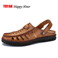 100% Genuine Leather Sandals Men Summer Shoes High Quality Non slip Men's Beach Sandals K215