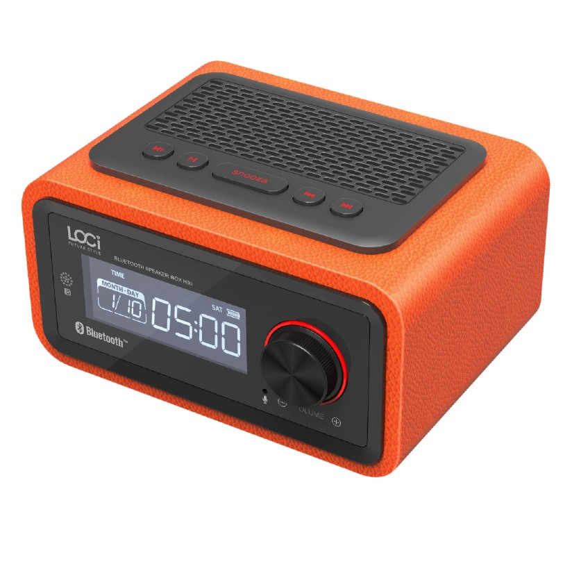 Prix pour De luxe ibox h90 coffret en bois pu en cuir bluetooth haut-parleur avec calendrier réveil radio mains libres mic bois et en cuir haut-parleur
