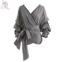 Black Plaid V Neck Wrap Faux Pearl Trim Blouse Women Puff Long Sleeve Tied Waist Cuff