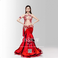 New And Sexy Luxury Women 6 Piece Bellydance Costume Suit Oriental Belly Dance Stage Show Wear Fishtail Skirt Free Custom