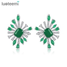 LUOTEEMI Design Exquisite Earrings for Women Wedding Party Luxury CZ Stone Three Colors Irregular Female Brincos Christmas Gifts