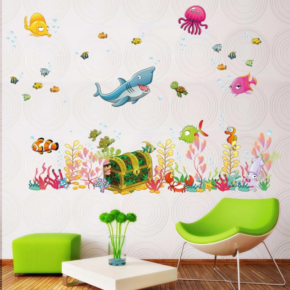 New arrival Underwater world Children\'s room cartoon wall stickers ...