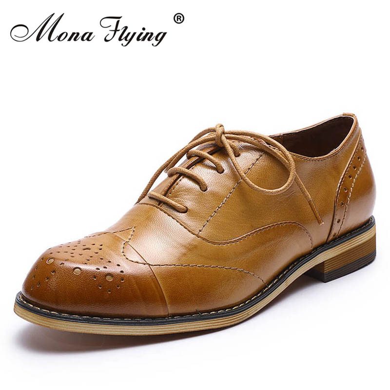 Women Flats Oxfords Shoes 2018 New Brand Genuine Leather Women Lace-up Casual Brogue Shoes for Women Handmade Flat Shoes FLX20-2