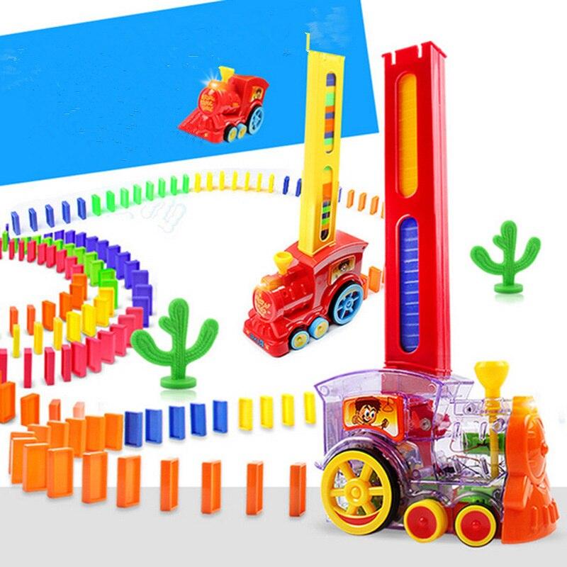 Domino automatique pose de briques jouet Train voiture avec son lumière ascenseur tremplin pont catapulte dominos Set cadeau pour enfants
