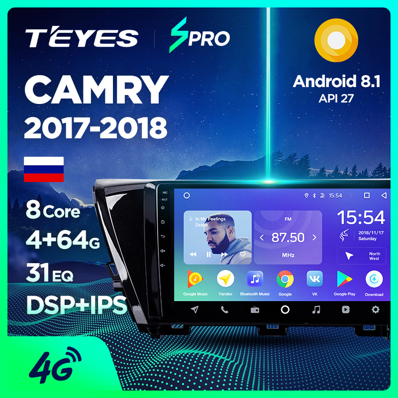 US $243 0 55% OFF|TEYES SPRO Car Radio Multimedia no 2 din android Video  Player Navigation GPS For Toyota Camry XV70 2017 2018 Camry 9-in Car