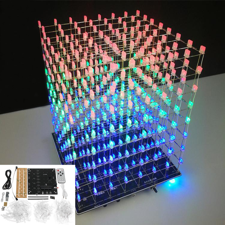 LEORY WIFI APP 8x8x8 3D Light Cube Kit Red Blue Green LED MP3 Music Spectrum Electronic Kit No Housing