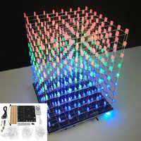 LEORY WIFI APP 8x8x8 3D Light Cube Kit Red Blue Green LED MP3 Music Spectrum Electronic Kit No Housing
