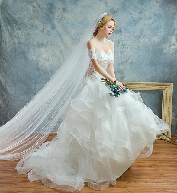 hts one Bridal Boat Neck Off Shoulder Ruffled Mermaid Wedding Dress ...