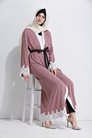 MZ Garment Woman Long Sleeve Abaya Islamic Female Muslim Apparel Ladies Lace Kaftan Long Women S