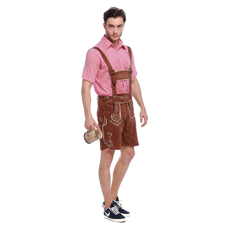 Costumes Adult Men Beer Festival Brown Suspenders and Pink Top Suit National Costumes Oktoberfest Event Cosplay Costumes