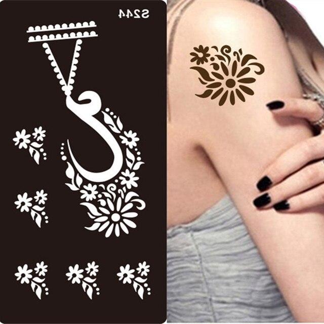 Us 226 14 Offtatuaż Z Henny Szablony Do Malowania Body Art Glitter Szablony Szablony Na Dłoni Stóp Indian Arabski Wzory Tatuaż Wklej Szablony W