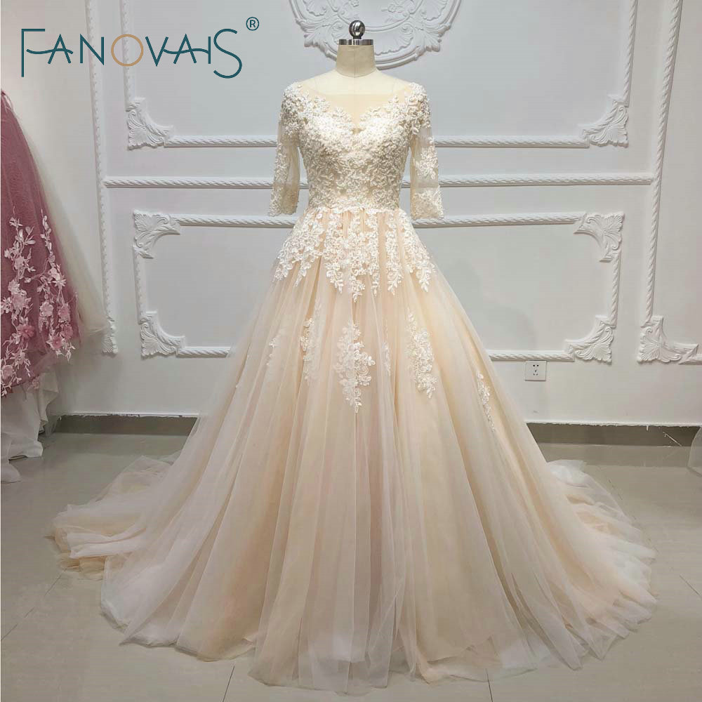 Champagne Vintage Wedding Dresses: Champagne Wedding Dresses Long Sleeves Ball Gown Vintage