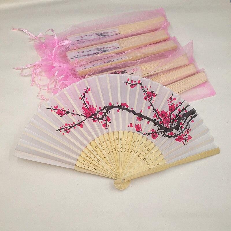60pcs Personalized Wedding Favor Fan Plum Blossom Hand Fan Wintersweet Cloth Flower Silk Fan Customized Names