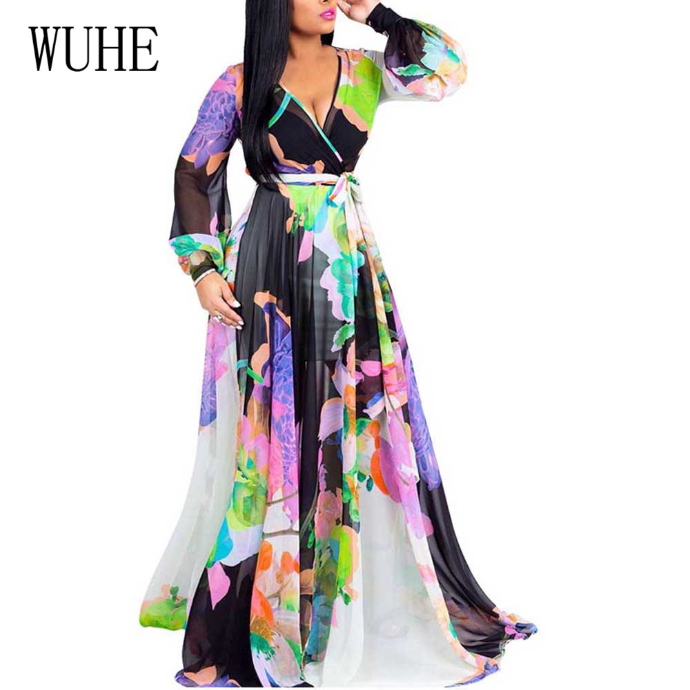WUHE Floral Long Chiffon Dress Women Chain Print Beach Autumn Festa Elegant Maxi Boho Vestidos Robe Longue Femme
