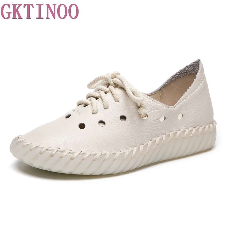 GKTINOO Fashion Handmade Women Genuine Leather Shoes Hollow Breathable Summer Spring Flats Ladies Flats Shoes Casual Shoes gktinoo fashion handmade women genuine leather shoes hollow breathable summer spring flats ladies flats shoes casual shoes