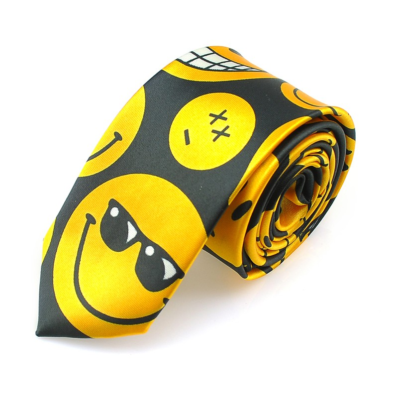 Novelty Smile Face 5cm/2inch Wide 2 Fashion Face Expression Party Ties Polyester Woven Classic Men`s Neck Ties-Free Shipping