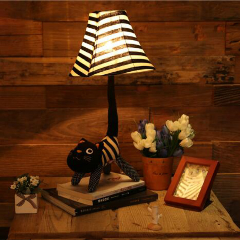 Carton Animal Cat E27 Dimmer Floor Lamp With Remote Control For