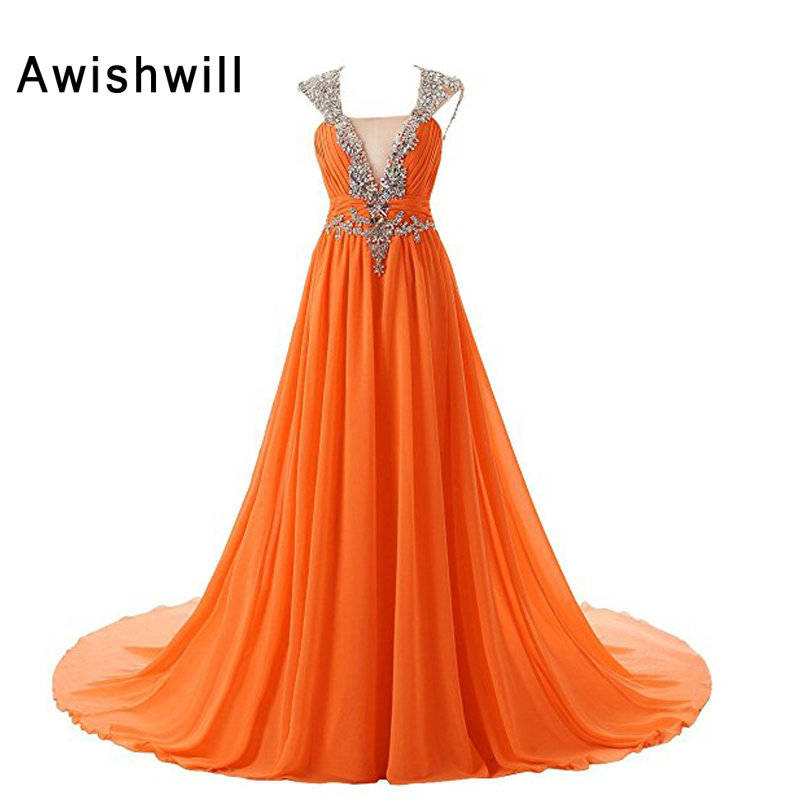 Orange Color Party Dress Cap Sleeve Open Back Sparkly Beads Chiffon Long Prom Dresses for Women Vestido Longo Real Photo
