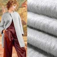 Silver world fashion limited 2017 winter Angora cashmere wool fabric for coat A long albaca fabrics tissu patchwork tela tissus