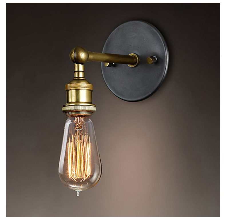 Industrial Wall Sconce Vintage Wall Lamps Aisle Cafe Bedroom Bedside Lamp Copper Head Wall Lighting Edison Buld Holder E27  free shipping brass finished e27 industrial edison wall lamp antique copper vintage beside lighting ac90 250v for bedroom