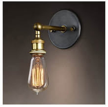 American country Vintage industrial wind aisle Cafe bedroom bedside lamp copper head fashion personality the nordic country american industrial loft personality rh simple bedside aisle stairs transparent glass wooden wall lamp