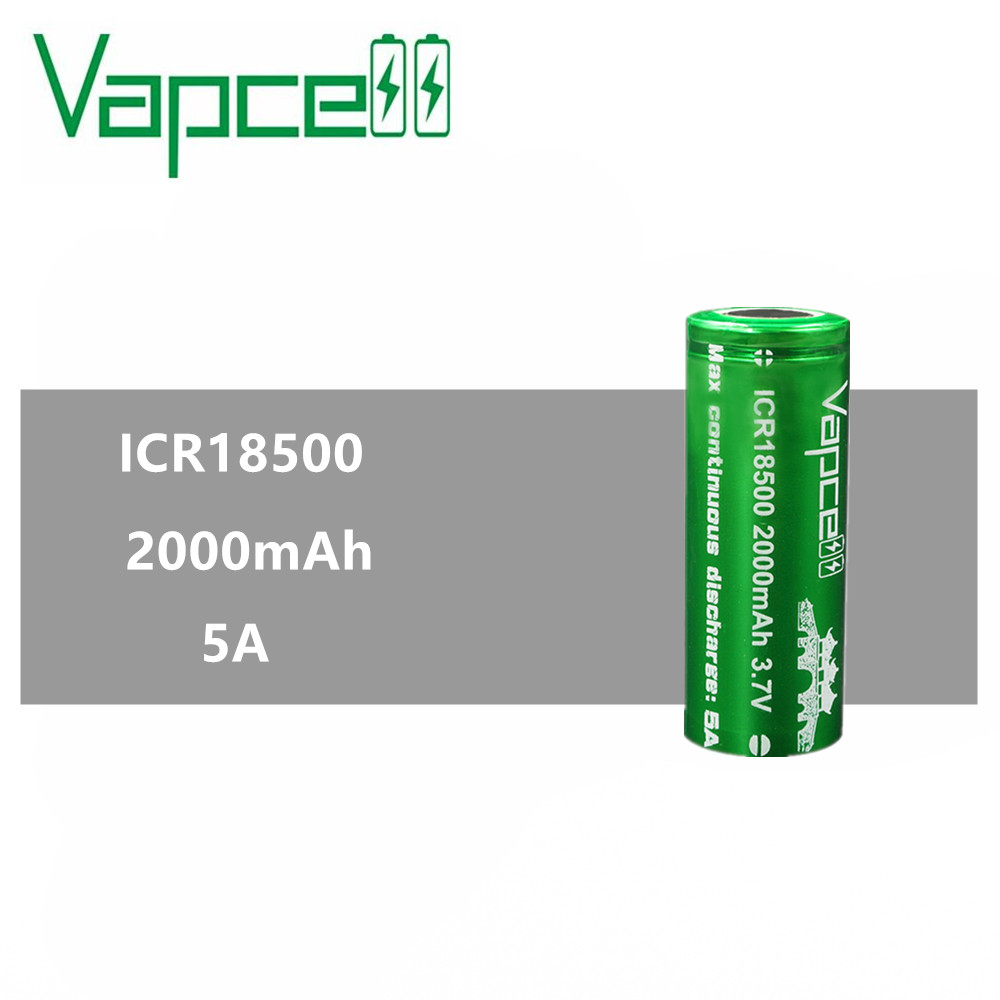 1pcs VAPCELL <font><b>ICR</b></font> <font><b>18500</b></font> 2000mAh lithium <font><b>ICR</b></font> <font><b>18500</b></font> 3.7V rechargeable <font><b>battery</b></font> continuous 5A electronic smoke E-CIG vs keeppower image
