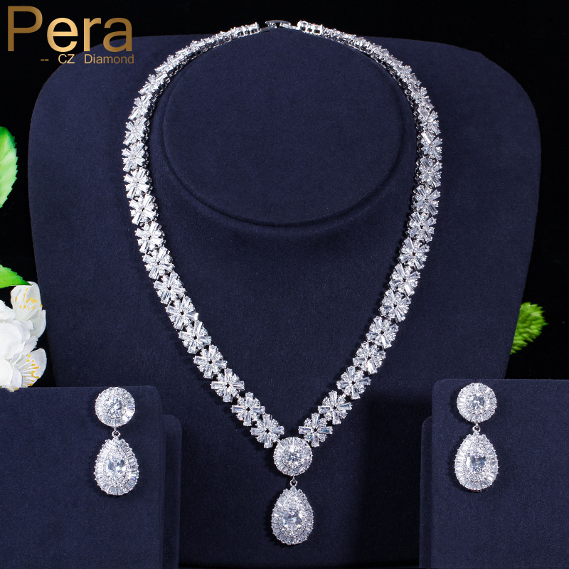 US $33 28 36% OFF Pera Luxury Noble Bridal Wedding Accessories Jewelry Big  Clear White Stone Pear Drop Necklace And Earrings For Bridesmaid J059-in