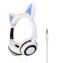 LEORY Foldable Flashing Glowing Cat Ear headphones Gaming Headset Earphone with LED Light For PC Laptop Computer Mobile Phone