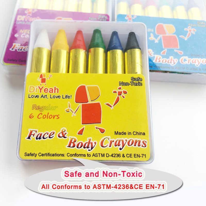 DiYeah מיני גוף צבע עפרונות פרל ניאון ניאון Maquiagem איפור ילדים צבע פנים פיגמנט UV זוהר ציור 6 צבע גוף אמנות