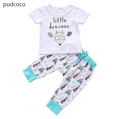 Summer Baby Boys Girls Short Sleeve Outfits Clothes Little dreamer T-shirt Print Pants 2pcs Clothes Set Cotton Clothing 0-24M