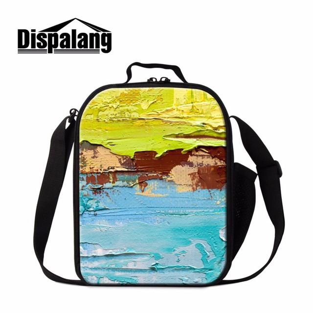Dispalang new thermal lunch bags art brushwork painting lunchbox lancheira insulated lunch cooler picnic food container bag