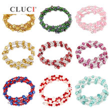 CLUCI Freshwater Adjustable Pearl Bracelet Women Jewelry Silver Plated Chain with Crystal 9 Colors Women Pearl Bracelet(China)