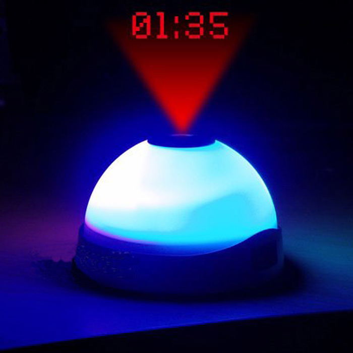 alarm clock digital circular single face indoor led plastic color changing snooze function clock with time projection wekker