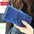 BVLRIGA Nubuck carteira de couro das mulheres marca de luxo saco bolsa de moedas feminino saco de embreagem Bolsas de preço em dólar carteiras longas carteira