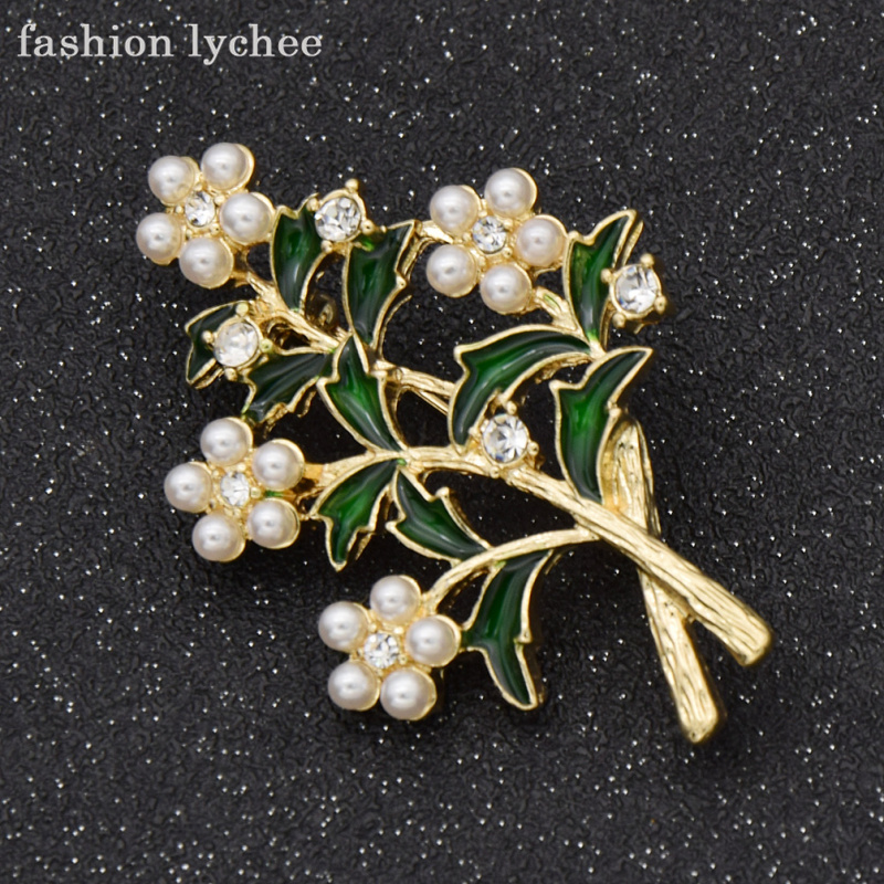 fashion lychee Valley Flower Milan Leaves Brooch Artificial Pearls Clean Crystals Party Banquet Jewelry Accessories