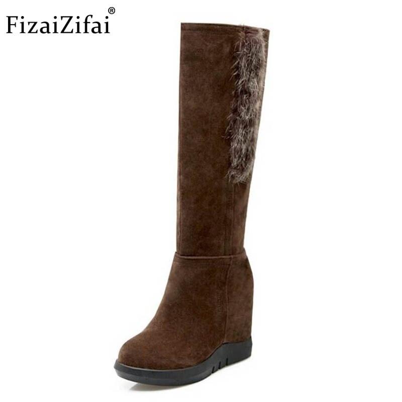 Tamanho 33-43 FizaiZifai Mulheres Altas Cunhas Botas Botas Curtas Metade Dentro de Botas de Pele de Calcanhar Grosso Sapatos de Inverno Frio para As Mulheres Footwears