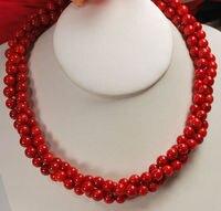 Charming DESIGN 3 Strands Rote Koralle Runde Perlen Twist Gold Toggle Halskette verschiffen frei AAA