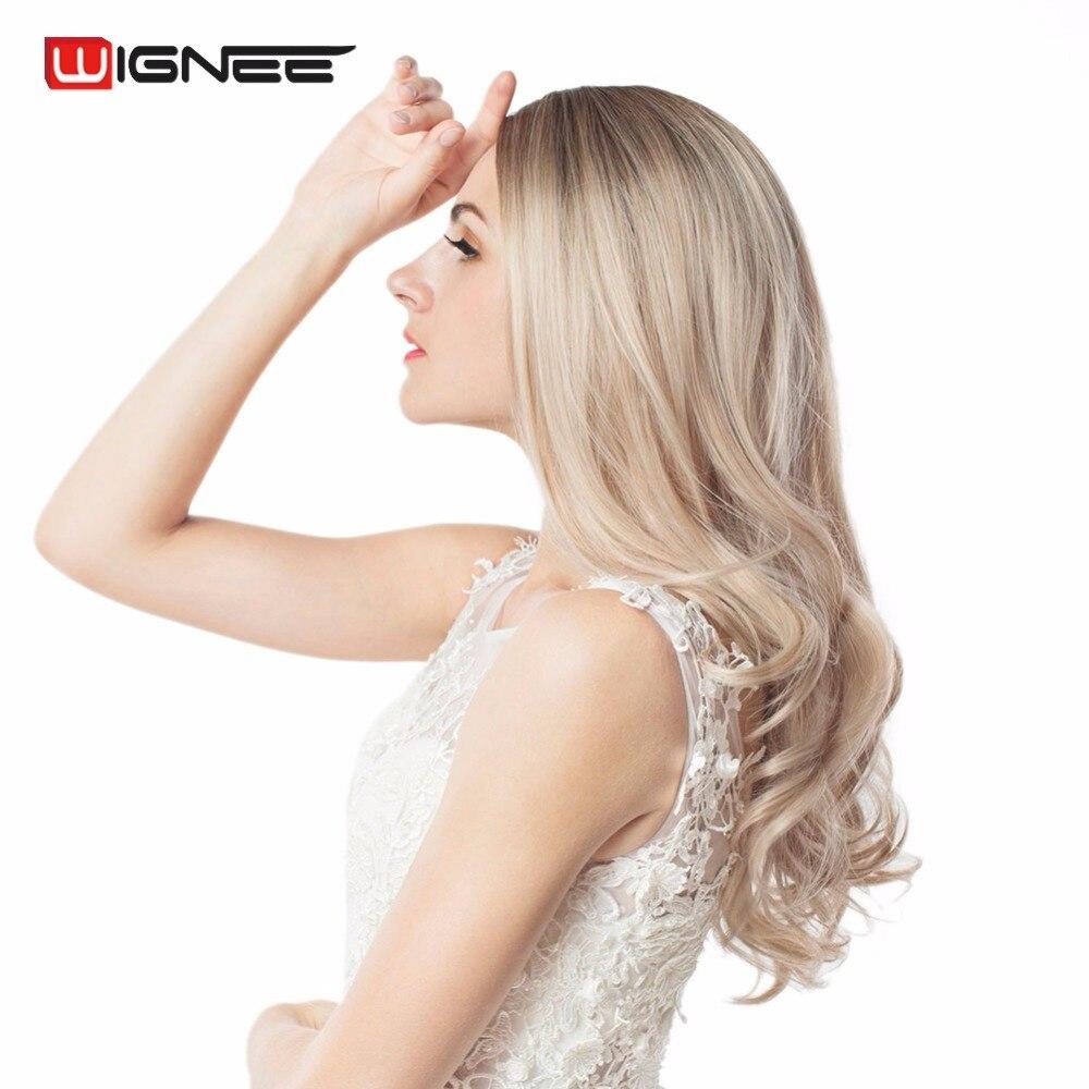 Wignee Длинные Ombre коричневый пепельный блондин высокой плотности Температура синтетический парик для черный/белый Для женщин Glueless волнистые Косплэй волос парик