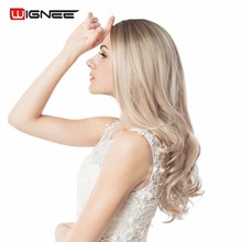 Wignee Long Ombre Brown Ash Blonde High Density Temperature Synthetic Wig For Black/White Women Glueless Wavy Cosplay Hair Wig(China)